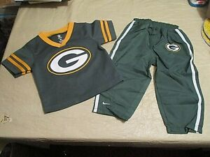 Green Bay Packers 2-PC.BABY OUTFIT,SHIRT/JERSEY & LINED WARM UP PANTS SZ.18MTHS.
