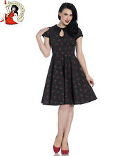 HELL BUNNY SOPHIE summer DRESS CHERRY POLKA dot BLACK XS-4XL