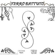 PANNELLI PALETTI FOGLIATI FERRO BATTUTO X SCALA RINGHIERE CANCELLO H 82cm L 28cm