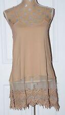 NEW L Mocha Camisole Long Tank Dress Slip Top Extender Lace Layering Vintage