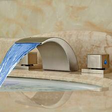 Widespread LED Bathroom Waterfall Basin Faucet Tub Sink Mixer Tap Brushed Nickel