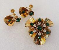 Vintage Gold Tone GREEN & CLEAR RHINESTONES Brooch & Earring Set
