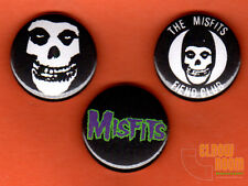 "Set of three 1"" Misfits pins buttons punk horror crimson ghost fiend club"