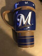 MLB Milwaukee Brewers 16 Ounce Sculpted Travel Mug Brand New