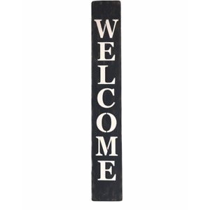 """3FT Welcome Sign White on Black  5.5"""" Wide Wall Door Hanger Sitter Hand Made USA"""