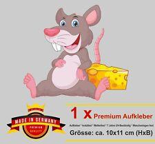 Auto Aufkleber Maus mit Käse mice Sticker lustiger Autoaufkleber Motorrad Bike