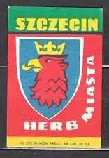 POLAND 1960 Matchbox Label - Cat.Z#190V,  Arms Town - SZCZECIN.