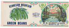"""NOS Vintage 1920's Kennesaw Mountain Brand CAN LABEL 11 1/4""""x4 ¼"""" GA Green Beans"""