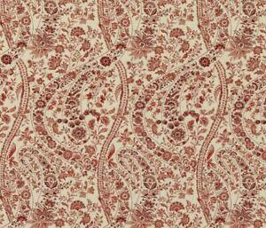 GP & J BAKER FABRIC 'BUKHARA PAISLEY - RED' 1.2 METRES (120cm) 100% LINEN