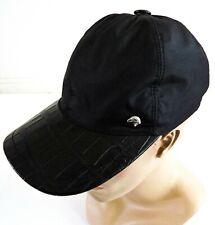 STEFANO RICCI Black Silk with Crocodile Leather Baseball Cap Hat Size M Medium