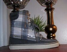 Sperry Top-Sider Acklins Charcoal Plaid Corduroy Lace Up Boots Women's Size 9.5