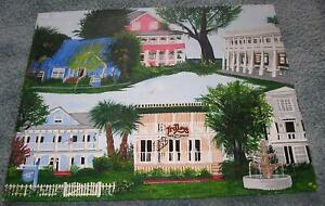 SOUTHERN PLANTATION HOUSE BED BREAKFAST INN RESTAURANT NAUTICAL GARDEN PAINTING
