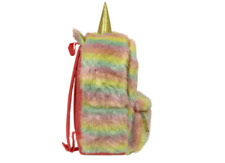 Unicorn Rainbow Plush Backpack Pastel Colors Gold Sparkly Horn & Ears Pink Back