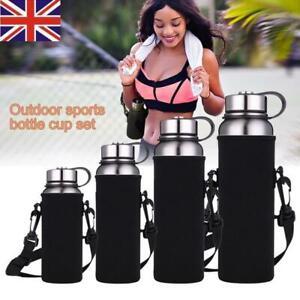 610-1500ml Neoprene Water Bottle Carrier Insulated Cover Bag Holder Strap Tra RC