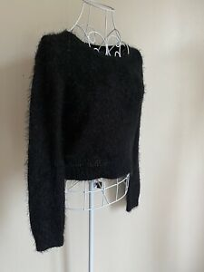 F&f Women's Cropped Jumper Size 10 Black Fluffy Long Sleeved Round Neck