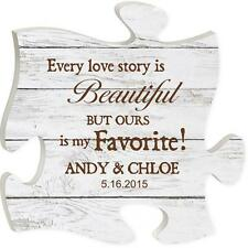 Personalized Laser Engraved Puzzle Piece Sign - Every Love Story Is Beautiful...