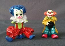 Colorful Vintage 1 Paper Mache & 1 Ceramic Clowns - Mexico