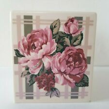 Vintage Tissue Box Cover Hampton Court Floral Pink Roses Square Dispenser Floral