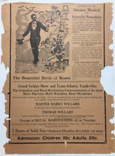 Stage Magic Willard The Wizard Poster Handbill Magic Illusions Half Sheet 1900