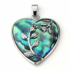 "Heart Metal Abalone Paua Shell Flower Pendant Bead 1.3"" New"