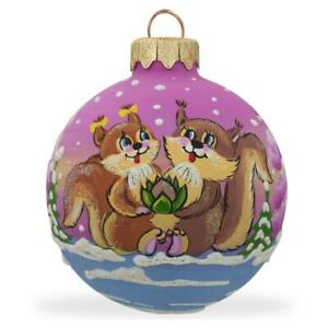 Squirrel Couple in Love, Lotus Flower Glass Ball Christmas Ornament 3.25 Inches