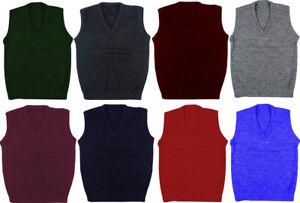 School Uniform V Neck Tank Top Kid Knitted Sleeveless Jumper Schoolwear Top *New
