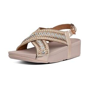 Fitflop MALLORY Rose Gold Metallic-Weave Low Wedge Open Toe Sandals
