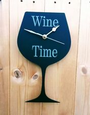 WINE GLASS CLOCK WINE TIME FUN CLOCK FOR SHED PUB BAR GAMES ROOM KITCHEN