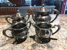 Antique Forbes Silver Co Quadruple Tea Set Sugar Creamer Biscuit Jar & T Pot