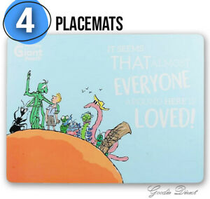 4pcs Roald Dahl James and The Giant Peach Blue Cork Backed Placemat Dinner Kids