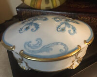"VINTAGE Sky Blue & GOLD LIMOGES Trinket Box With Hidden Butterfly 5.5""x4"" signed"