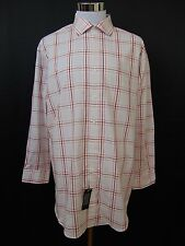DKNY Slim Fit Dress Shirt Long Sleeve Ginger Check 17.5 32/33 Cotton #1616