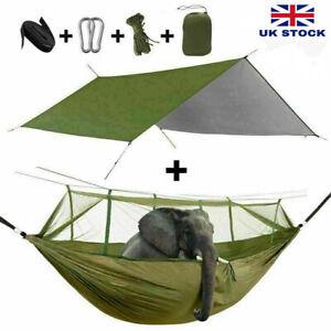 Double Person Camping Hammock Mosquito Net + Outdoor Waterproof Tent Tarp Mat