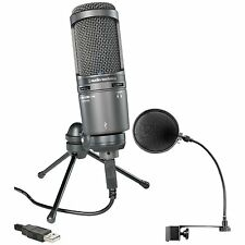 Audio Technica*AT2020USB+Bundle*AT2020 USB Condenser Microphone+Pop Filter NEW