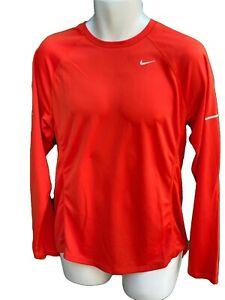 NIKE Running Miler Dri Fit STAY WARM Long Sleeved Running Workout Shirt Orange M