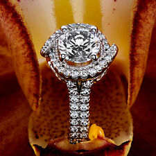 1.22 CT ROUND CUT NATURAL REAL DIAMOND ENGAGEMENT RING 14K WHITE GOLD ENHANCED