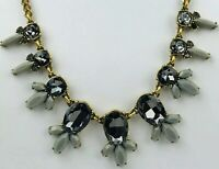 J Crew Gold Tone Gray Blue Rhinestone Cluster Chain Statement Necklace 18 19 In