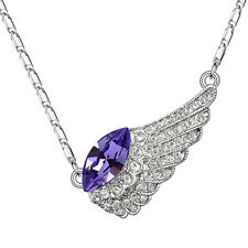 Silver Amethyst Crystal Bird Wing Necklace Made with Swarovski Crystal N165