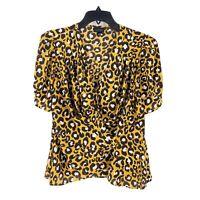 Who What Wear Animal Print Blouse Short Sleeve Size Medium