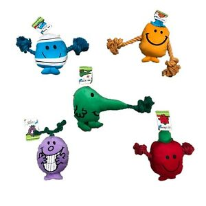 Mr Men Soft Dog Puppy Toy Rope and Squeaker - Various Designs
