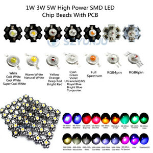 1W 3W 5W Watt High Power LED Chip Warm White UV Deep Red Blue Green RGB With PCB