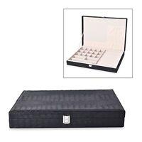 Black Crocodile Faux Leather Jewelry Organizer Box Storage Anti Tarnish Lining