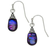 Teardrop Earrings Purple Paua Abalone Shell Silver Fashion Jewellery 25mm Drop