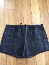ILLIA black lace-up leather shorts, Sz 4