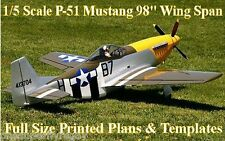 "P-51 Mustang 1/5 Scale 98"" WS RC Airplane Full Size PRINTED Plans & Templates"