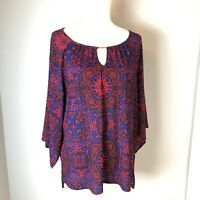 WOMENS TOP SIZE LARGE MULTI COLOR EMBELLISHED DANA BUCHMAN