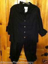 NWT DEBRA DEROO SZ SM BLACK PEARL BUTTON LINEN LS TIED SHIRT CROPPED TIED PANTS