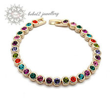 18K Gold Plated/Crystal Colorful/Multicolored Bracelet/RGB017G