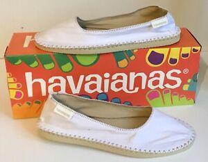 HAVAIANAS ESPADRILLES SLIP ON CANVAS- WHITE  - SIZE UK 6 BRAND NEW