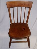 """CHARMING EARLY 1800'S CHILDREN'S 29"""" SPINDLE AND SLAT BACK HAND MADE PINE CHAIR"""